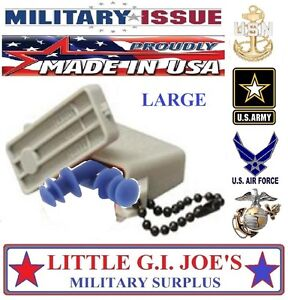 NEW LARGE Military Issue Ear Plugs W/ Acu Storage Case Tactical Earplugs 27db