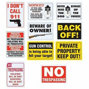 10pc GUN WARNING Security SIGN Set Warning Home Alert No Trespassing Dog Owner