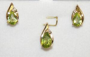 14k Yellow Gold Stud Earrings Pendant Set with Natural Peridot and Diamond