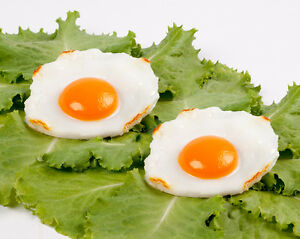 2x Realistic Fried Egg Artificial Fake Food Birthday Prank Toy Novelty Gift Joke