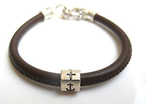 brown leather anchor love cross silver bead charm bracelet men women luck 925