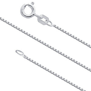 Sterling Silver 1mm Box Chain Necklace for Pendants 925 Italy Wholesale Prices