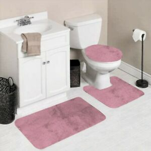 NEW 3PC BATHROOM SET 1 BATH RUG 1 CONTOUR MAT 1 TOILET LID COVER #6 LIGHT PINK