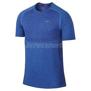 Nike AS Dri-Fit Dry Knit Short Sleeve Blue Mens Running Shirt Top 717759-458
