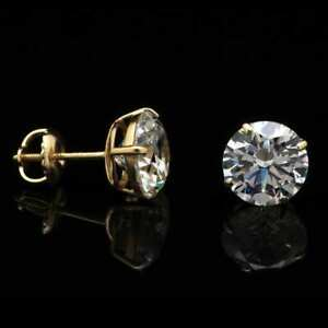 14K Yellow Gold 4Ct Created Diamond Round Stud Screw Back Earrings 8mm