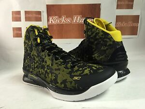 size 13 Under Armour UA Curry One SC 1 Away Black Taxi Yellow Black high top NIB