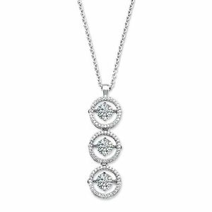 HALO MOTION  3 STONE MOVING DANCING LCS  DIAMOND NECKLACE PENDANT + GIFT 18 INCH
