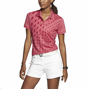 Nike Women's Dri-Fit Graphic Golf Polo Shirt-Coral-XS