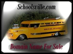 Schoolsville .com Back To school Notebooks Domain Name For Sale Learn Bus URL