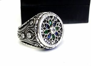 Men's Custom Silver Mosaic Ring With White and Black Diamonds Blue Sapphires