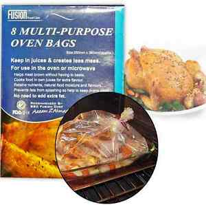 8 MULTI PURPOSE OVEN BAGS MEAT CHICKEN BEEF COOKING ROASTING ROAST BAG MICROWAVE