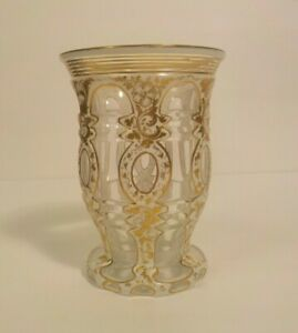 BOHEMIAN CZECH CASED OVERLAY 2-LAYER GLASS BEAKER  TUMBLER HARRACH c. 1880s