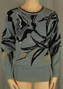 ESCADA Designer Gray Blue Lilly Floral Cotton Blend Knit Pullover 34 $238.00