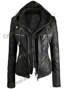 Women's Black Biker Motercycle Stylish Real Leather Hoodie Jacket - Detach Hood