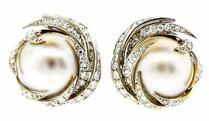 CHARMING Sterle Paris 18k WG Diamond & Mobe Pearl Earrings Circa 1960s