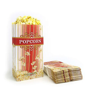 100 Popcorn Serving Bags #x27;Small#x27; Standalone Flat Bottom Paper Bag Style