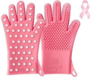PINK Heavy-Duty Ladies Silicone Oven Mitts Heat Resistant Barbecue Cooking Glove