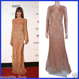 $19345 New VERSACE Fully Embroidered Nude Tulle Gown 44 - 8