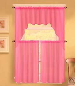 3PC K66 HOT PINK VOILE SHEER KITCHEN WINDOW CURTAIN 2 TIERS & 1 SWAG VALANCE SET