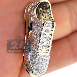Mens Diamond Sneaker Sport Shoe Pendant 10K Yellow Gold 1.02 ct Certified
