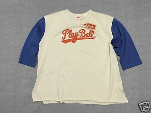 Levis Vintage LVC Mens XL Royal BlueBeige Play Ball 34 Sleeve Baseball T-Shirt