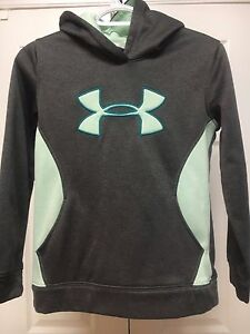 Under Armour Girls M Storm Logo Performance Fleece Hoodie Pouch Pocket Gray Mint