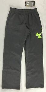 Under Armour Boys Youth Loose Athletic Track Sweat Pants Gray Neon Size S