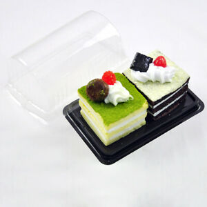 Set of 50 Rectangle Swiss Roll Cake Dessert Take-Out Containers with Round Dome