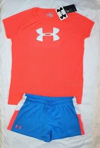 NWT ~~GIRL'S UNDER ARMOUR SHORTS & DRI-FIT TOP LOOSE FIT YOUTH X-LARGE 18-20~~