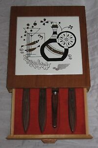 Wood Tile Cheese Cutting Board Knives Fork Drawer Wooden Set #DH73