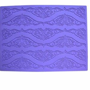 Lrge Purple Silicone Lace Mat for Edible Sugarcraft Lace Embossed Cake Fondant