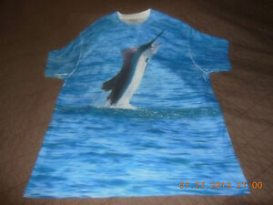 New 2XL Dry Fit Short Sleeve Sailfish Print Shirt Saltwater Camo Lures Marl