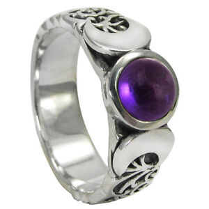 Sterling Silver Triple Moon Goddess Amethyst Gemstone Ring sz 4-15 Wicca Pagan