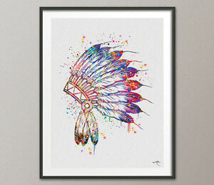 Native American Headdress Indian Chief Art Watercolor Print Wedding Gift Wall 2