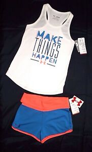 NWT ~GIRL'S UNDER ARMOUR SHORTS & MATCHING TANK TOP YOUTH SIZE MEDIUM 10-12~
