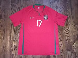 Men's XL Nike FIT DRY 2008-10 Portugal Cristiano Ronaldo #17 Home Soccer Jersey
