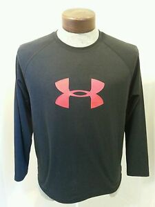 Lot of 2 Boys Under Armour Long Sleeve Shirt Heat Gear Black Size Youth XLarge