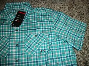 UNDER ARMOUR New NWT Mens Dress Shirt Button Up Blue Green Loose Fit Hydro 2XL