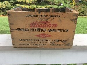 Winchester 12 gauge Xpert empty shotgun shell box wood crate collectible chest
