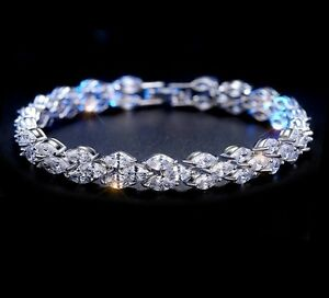 5 ct Round Man Made Diamond Tennis Bracelet 14k White Gold Finish