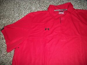 UNDER ARMOUR New NWT Mens 4XL XXXXL Polo Shirt Red Solid Loose Fit
