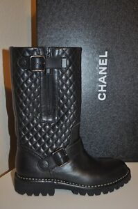 NIB $1595+ CHANEL 14C Sport Black Quilted Leather Moto Riding Tall Boots 36 - 6