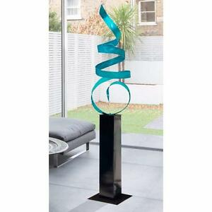 Large Modern Abstract Metal Sculpture In Aqua Indoor Outdoor Art by Jon Allen