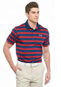 NWT MEN'S Under Armour Groove Stripe Polo Shirt SIZE LARGE $65 RedNavy Blue