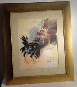 Antique Vintage Painting Randall Davey Signed Original Painting Rooster