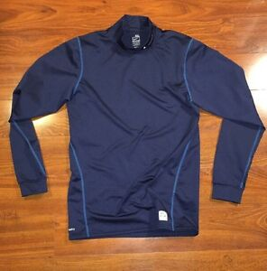 Men's NIKE RUNNING Fit Dry Long Sleeve Mock Neck Shirt Size 2XL Blue FITTED
