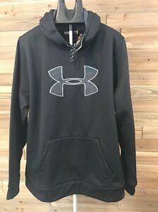Under Armour NWT Men's XL Blk Hoodie  Grey Gray Logo Storm Water Resistant