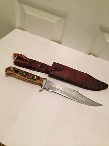 Vintage Puma 6396 Stag Handle Bowie Hunting Knife # 63607 with Sheath