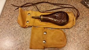 Vintage powderhorn with buckskin belt pouch and ball bag leather reloading