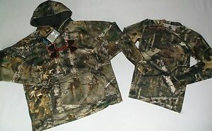 UNDER ARMOUR BOY'S SIZE XL REALTREE CAMO HUNTING HOODIE & STARTER SHIRT NWT!